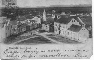 Cartão Postal - Setor HIstórico de Curitiba no início do século XX. Acervo Fundação Cultural de Curitiba