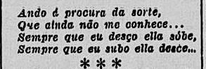 Pequeno trecho de um verso de João da Tapitanga sobre a sorte, ou a falta dela.