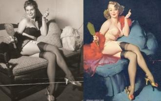 Foto e pintura de Gil Elvgren