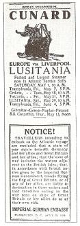 O aviso oficial emitido Pela Embaixada da Alemanha imperial sobre a viagem em Lusitânia .