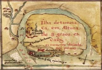Portuguese map of the island of Itamaracá – João Teixeira Albernaz 1640