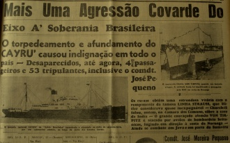 Natal newspaper announcing the sinking of a Brazilian boat in March 1942