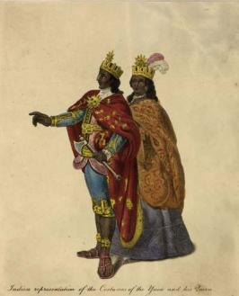 Representação das roupas do casal real Ynca e Coya. Suas coroas ostentam o emblema do sol, a quem eles adoravam como um deus. (Hulton Archive / Getty Images) - Fonte - httphistory.howstuffworks.com