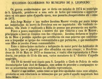 Documento de época narrando os fatos relativos aos Muckers