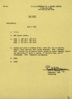 Diário de bordo do USS General W. A. Mann sobre a partida do Rio de Janeiro
