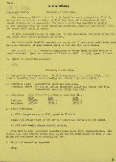 Diário de bordo do USS Omaha, comentando sobre o encontro com o General Mann e suas escoltas brasileiras