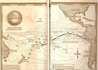 Rota imaginada e cumprida pela expedição Kon Tiki, provando que Thor Heyerdahl estava certo na sua teoria - Fonte -  ngyimhontom.wordpress.com