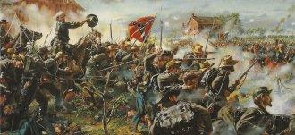 General William Barksdale, das forças sulista, conduzindo sua brigada no combate de Gettysburg - Pintura de Don Troiani
