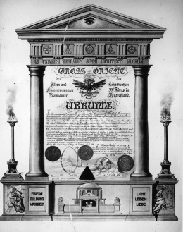 31st May 1913:  Certificate of the High order of the Freemasons of 33rd rite in Scotland written in German. In English the document goes in to state, 'In the name and under the auspices of the temporarily United Sovereign Sanctuaries of the Ancient & Primitive Rite of Masonry in & for Great Britain and Ireland and in & for the German Empire.  (Photo by Hulton Archive/Getty Images)