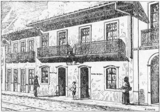A fachada do prédio onde funcionou a botica de 1858 a 1921