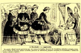 A imagem publicada na Semana Ilustrada, em 1865, mostra as vivandeiras da Guerra do Paraguai: mulheres que acompanhavam os deslocamentos das tropas de infantaria, vendendo alimentos e outros artigos aos soldados. (Imagem: FUNDAÇÃO BIBLIOTECA NACIONAL)