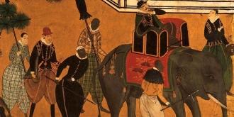 Comerciantes portugueses acompanhados por escravos africanos e uma mistura variada de mercadorias exóticas, por Kano School (século 17) - Fonte - http://enterjapan.me/yasuke/