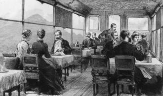30 de janeiro de 1886: Os passageiros a bordo do trem Orient Express são servidos o almoço. Publicação original: The Graphic - pub. 1886 (Foto por Hulton Archive / Getty Images)