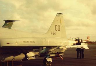 As linhas da fuselagem de um F-5 brasileiro