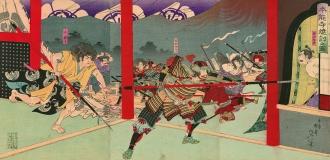 O fogo e ataque a Honnō-ji 「本能 寺 焼 討 之 図」, por Toyohara Chikanobu 「豊 原 周延」 (1896) - Fonte - http://enterjapan.me/yasuke/