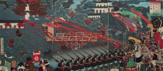 O exército de Nobunaga estabelece cerco a numerosos castelos, por Utagawa Yoshitora 「歌 川 芳 虎」 (1871) - Fonte - http://enterjapan.me/yasuke/