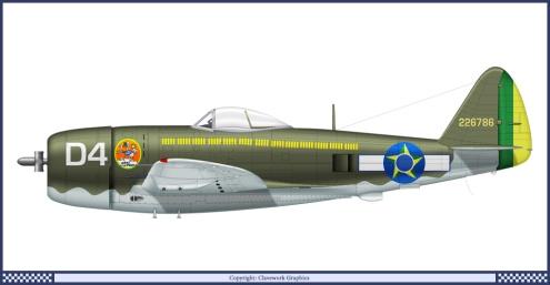 Representação do Republic P-47 Thunderbolt com que o tenente Rui combateu na Itália - Fonte -www.militar.org.ua