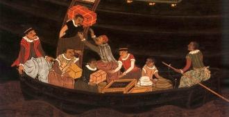 Descarregamento de uma caravela portuguesa, por Kano School (17th Century) - Fonte - http://enterjapan.me/yasuke/  - CLIQUE NAS IMAGENS PARA AMPLIAR
