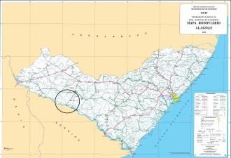 Mapa de Alagoas, com destaque para a região dos acontecimentos