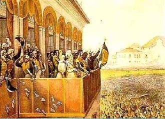 Aclamação de D. Pedro I no Campo de Santana, Rio. Quadro de Jean Baptiste Debret