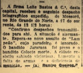 Diário de Pernambuco, primeira página, 19 de junho de 1927.