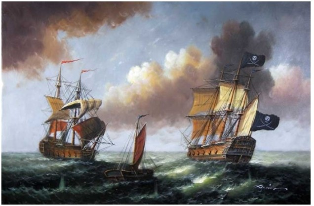 -font-b-Pirate-b-font-Ship-High-Seas-1800-s-Seascape-Lge-font-b-Oil