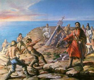 Quadro que representa o navegador Diogo Cão ordenando o chantamento de um padrão de armas português. FRonte - hispanismo.org