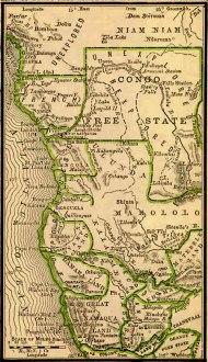 Mapa de 1887, mostrando a divisão da área do antigo Reino do Congo entre as nações europeias - Fonte - http://www.africafederation.net/Berlin_1885.htm