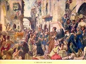 A aquarela 'A Expulsão dos Judeus', do artista português Roque Gameiro, retrata a história da Inquisição em Portugal - Foto: Reprodução