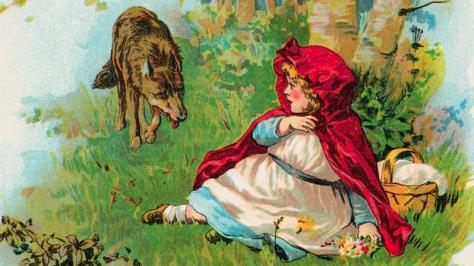 Illustration of Wolf Approaching Little Red Riding Hood