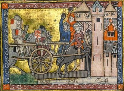 An undated handout photos shows Lancelot & Gawain in a cart being pelted with filth