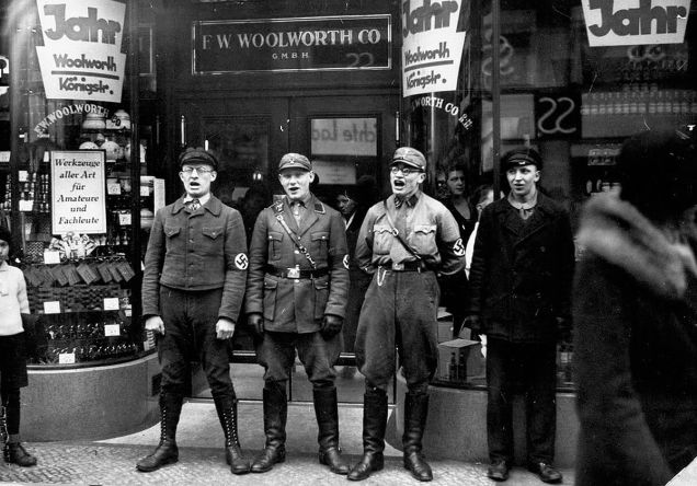 Nazis singing to encourage a boycott of the allegedly Jewish-founded Woolworths, 1933