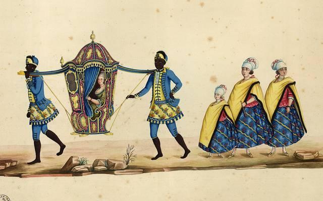 03. Dama em literia, carregada por escravos e suas acompanhantes_Carlos Julião_17xx_Crédito_Carlos Julião